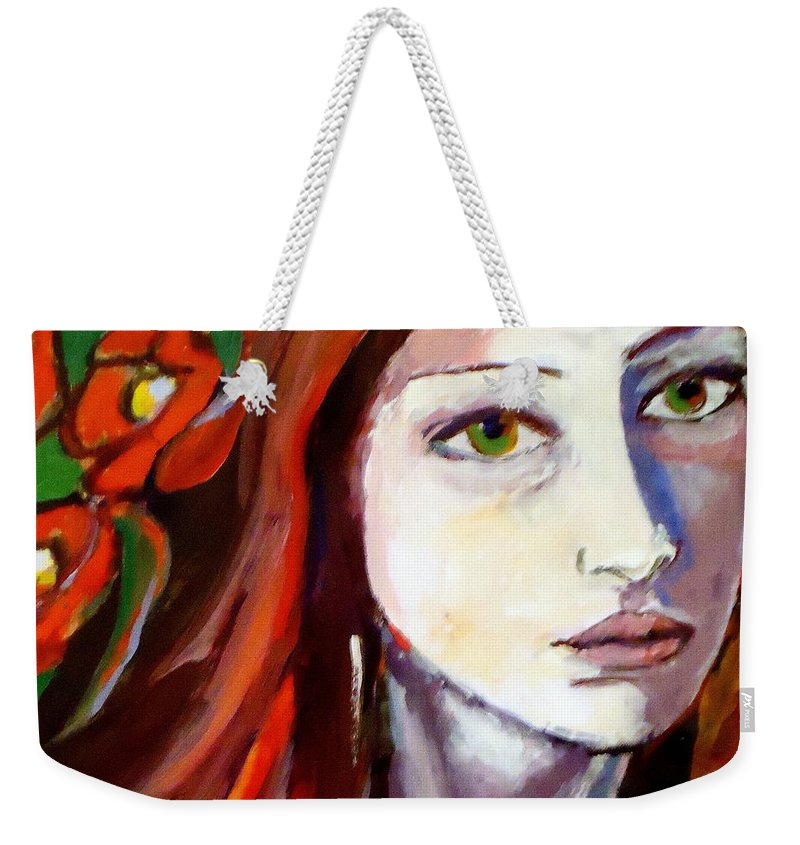 Art For Sale Weekender Tote Bag featuring the painting Pensive Lady by Helena Wierzbicki