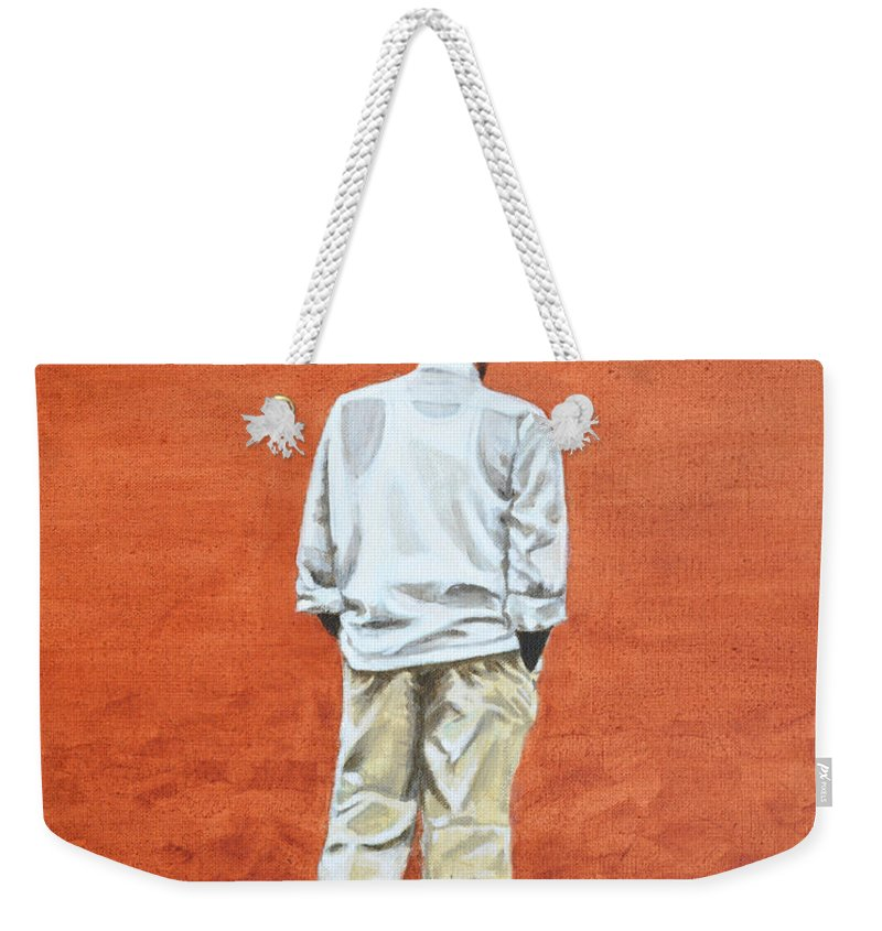 Pensive Weekender Tote Bag featuring the painting Pensive by Usha Shantharam