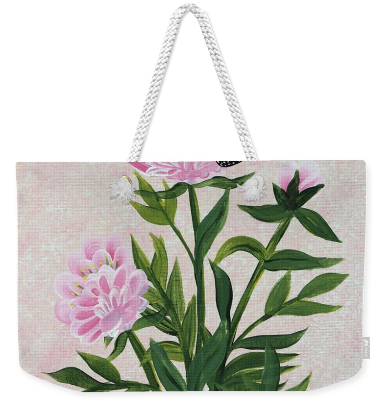 Barbara Griffin Weekender Tote Bag featuring the painting Peonies And Monarch Butterfly by Barbara Griffin