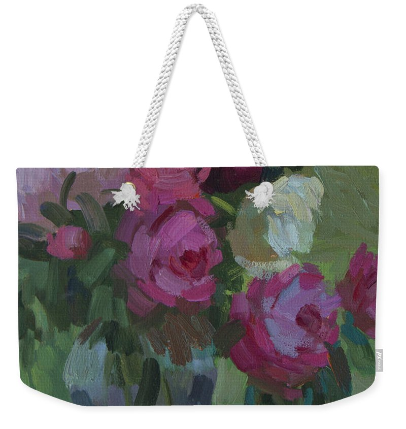 Peonies Weekender Tote Bag featuring the painting Peonies In The Shade by Diane McClary