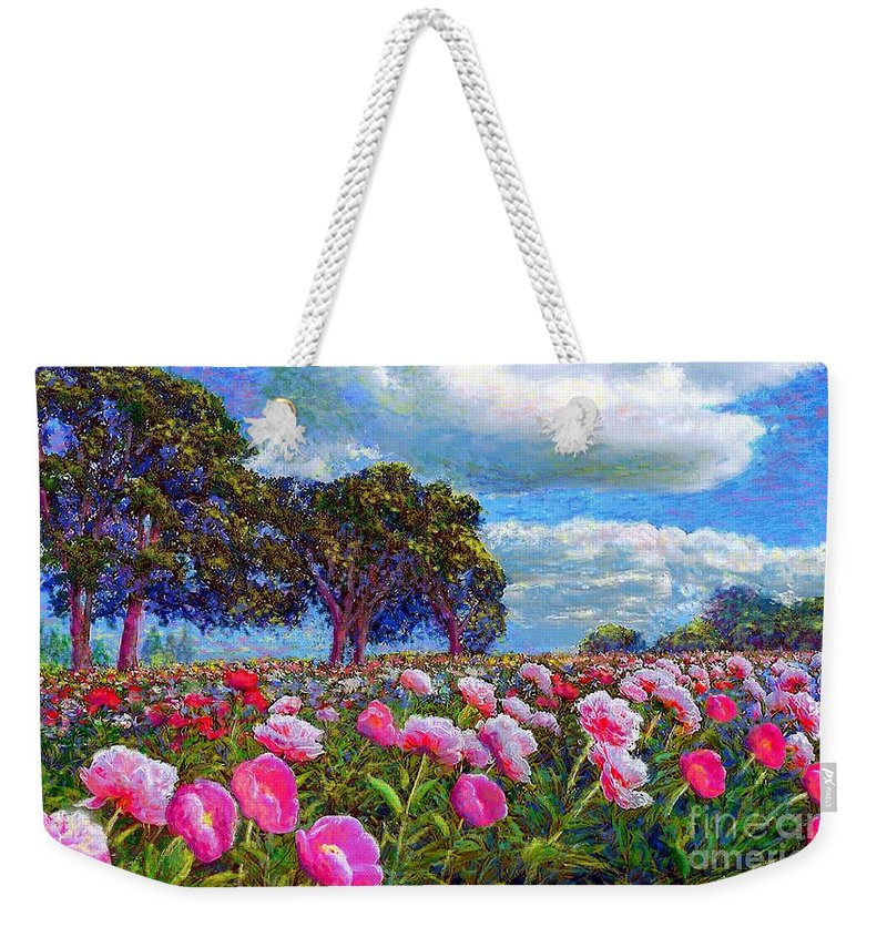 Floral Weekender Tote Bag featuring the painting Peony Heaven by Jane Small
