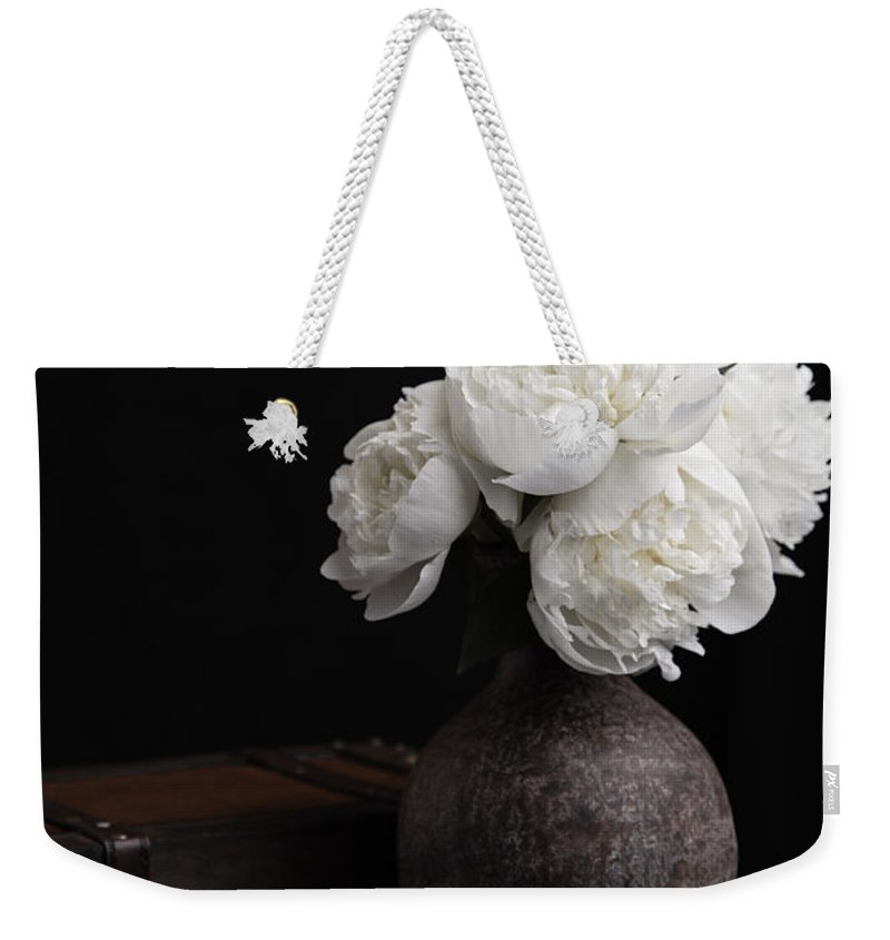 Luggage Weekender Tote Bag featuring the photograph Peony Still Life by Edward Fielding