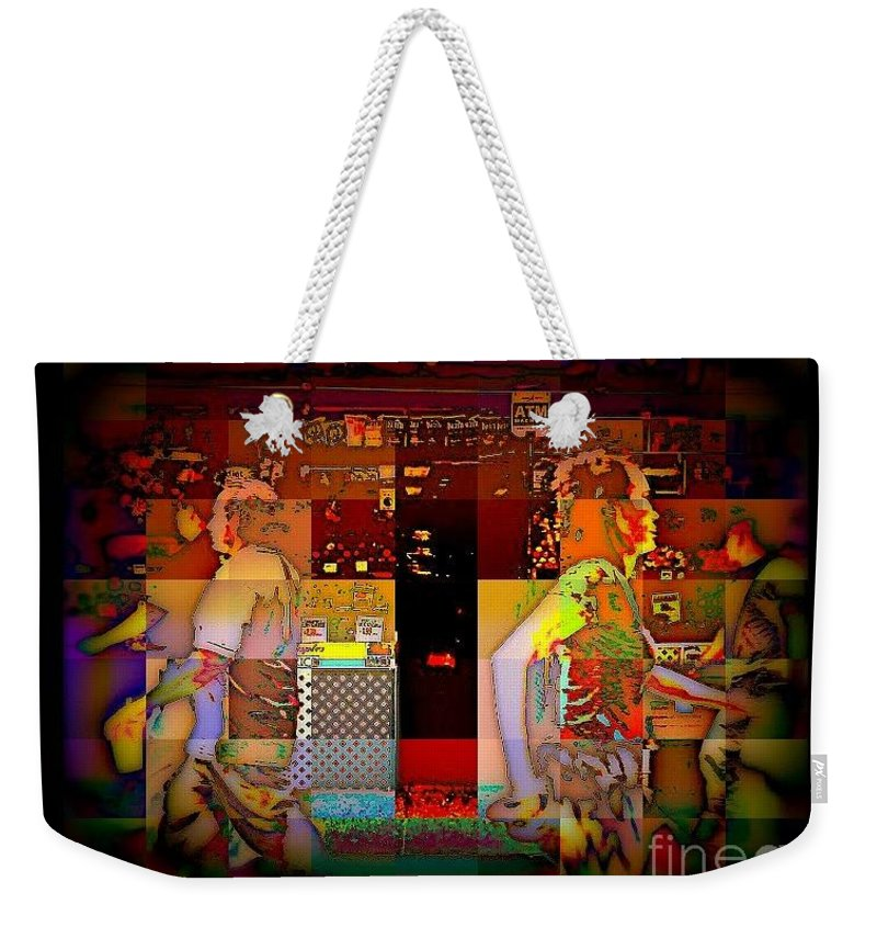 Abstract Weekender Tote Bag featuring the photograph People In Motion - Upper West Side by Miriam Danar