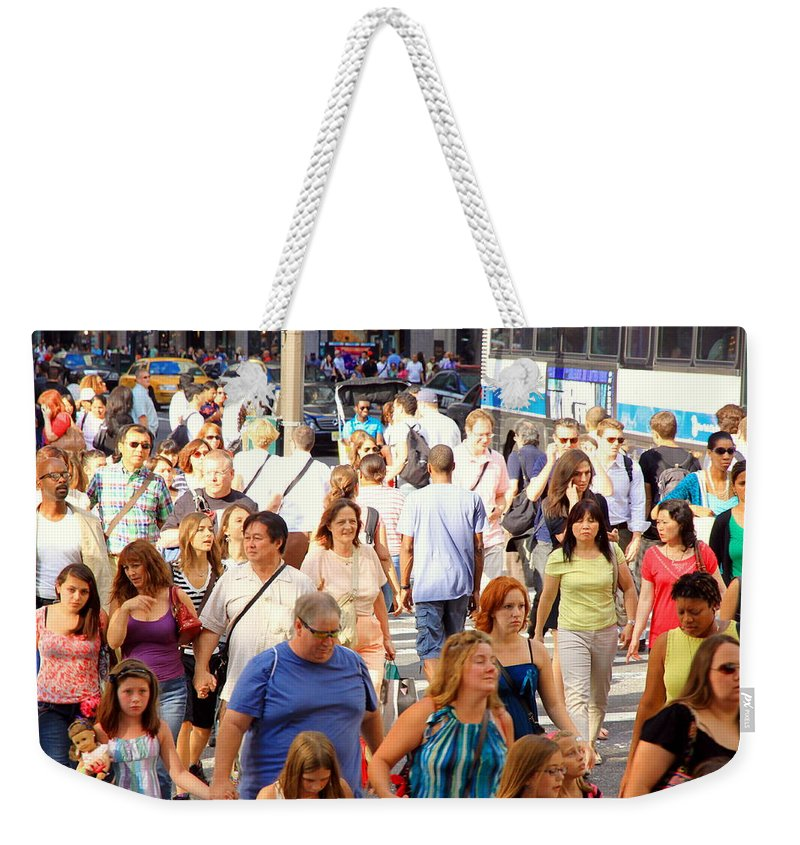 Streets Weekender Tote Bag featuring the photograph People In New York by Valentino Visentini