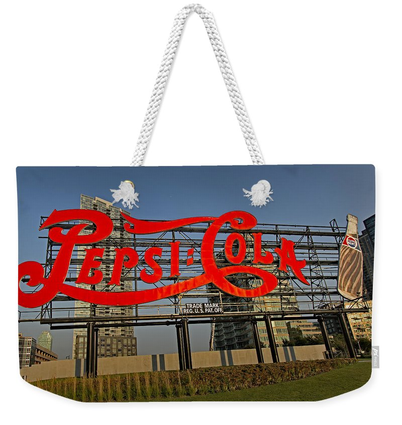 Pepsi Cola Sign Weekender Tote Bag featuring the photograph Pepsi Cola by Susan Candelario