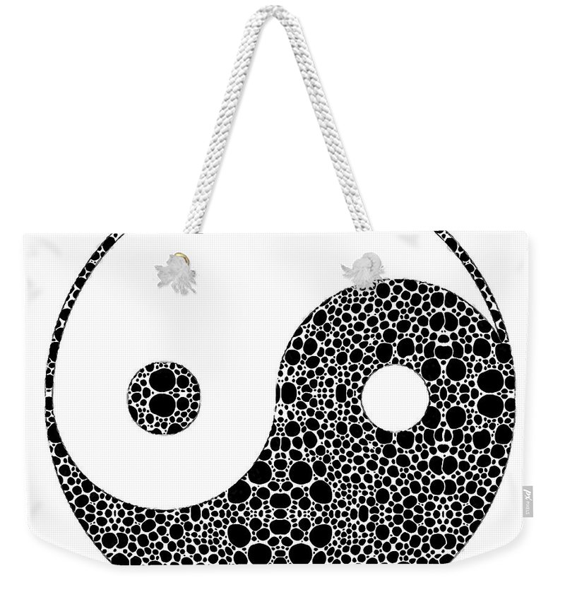 Yin Weekender Tote Bag featuring the painting Perfect Balance 1 - Yin And Yang Stone Rock'd Art By Sharon Cummings by Sharon Cummings