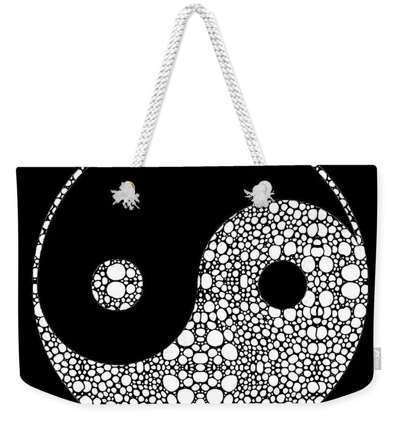 Yin Weekender Tote Bag featuring the painting Perfect Balance 2 - Yin And Yang Stone Rock'd Art By Sharon Cummings by Sharon Cummings