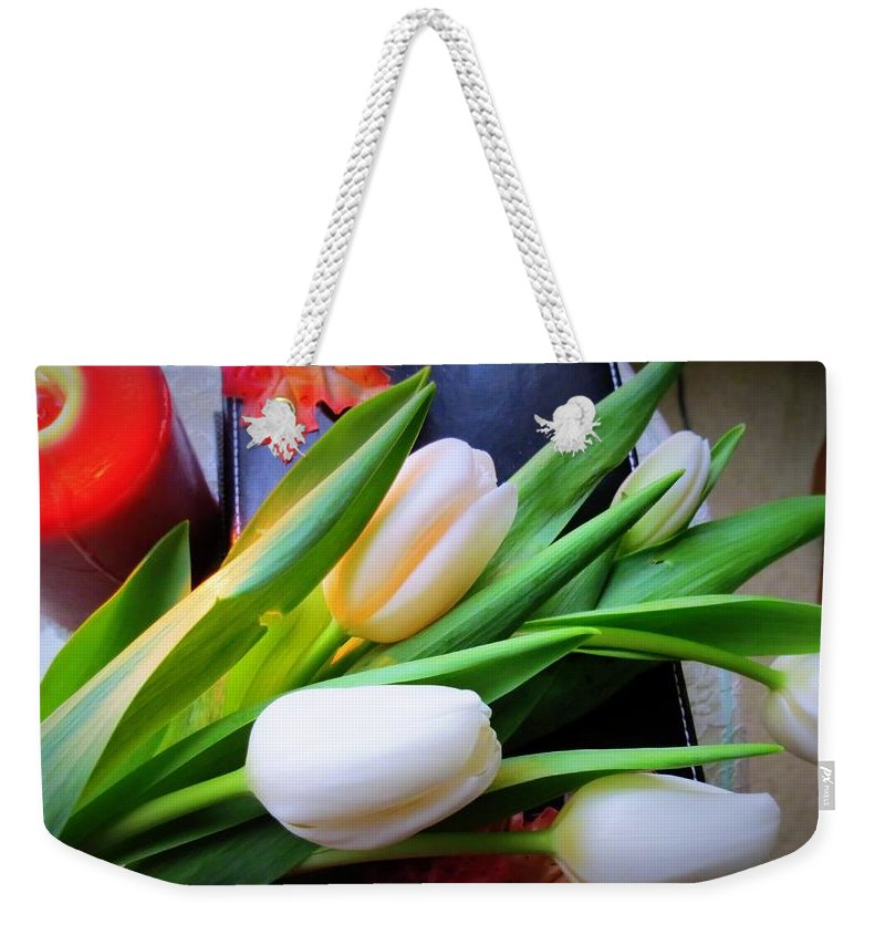 White Tulips Weekender Tote Bag featuring the photograph Perfect Love by Kay Novy