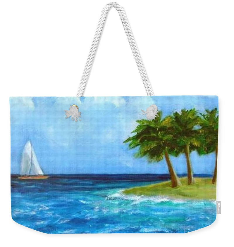 Boats Weekender Tote Bag featuring the painting Perfect Sailing Day by Laurie Morgan