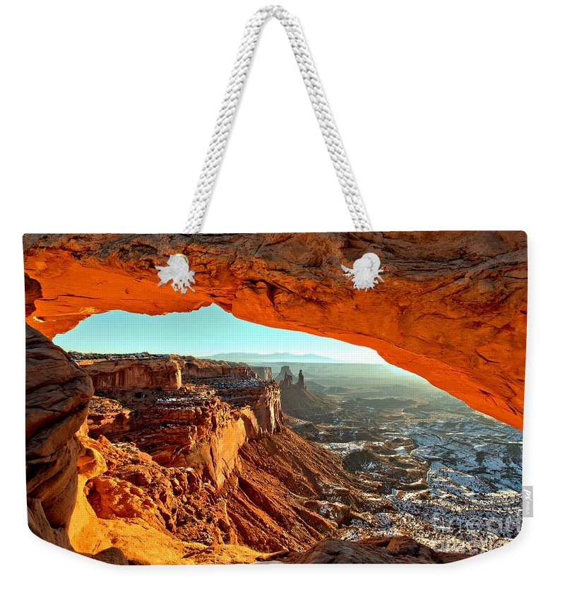 Mesa Arch Sunrise Weekender Tote Bag featuring the photograph Perfect Sunrise by Adam Jewell
