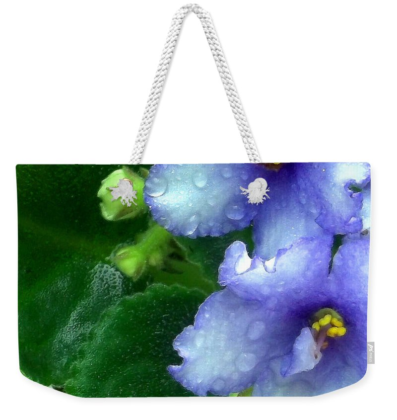 African Violets Weekender Tote Bag featuring the photograph Periwinkle African Violets by Nancy Mueller
