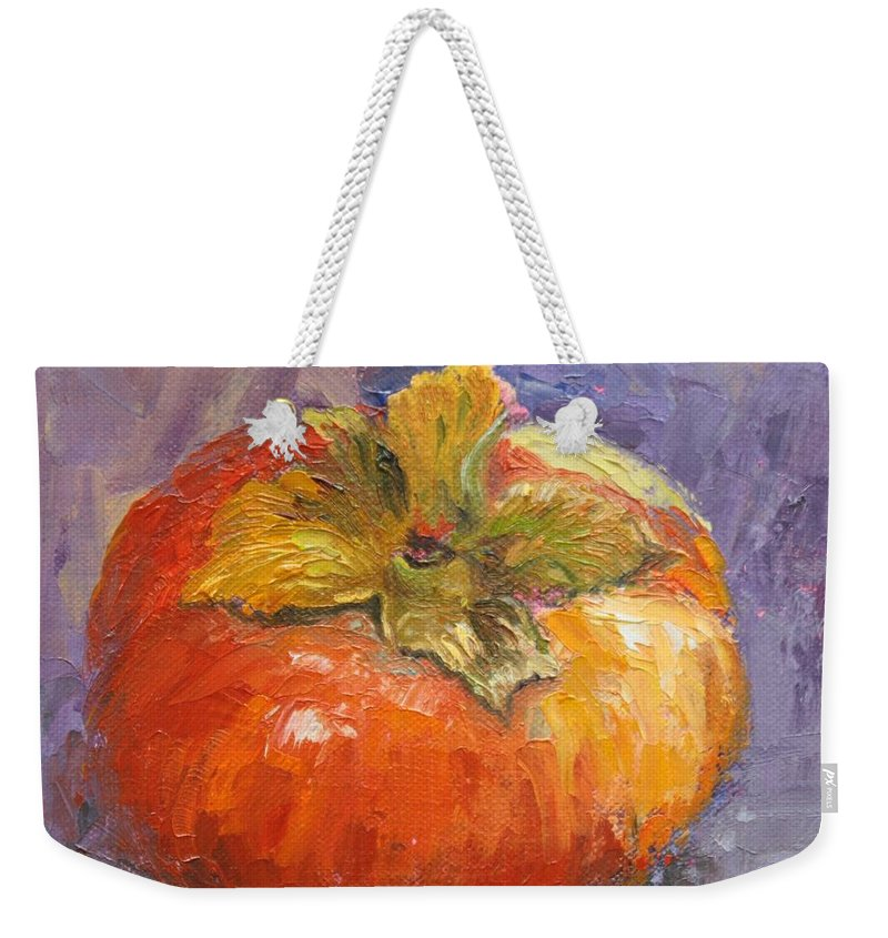 Fruit Weekender Tote Bag featuring the painting Perky Persimmon by Inka Zamoyska
