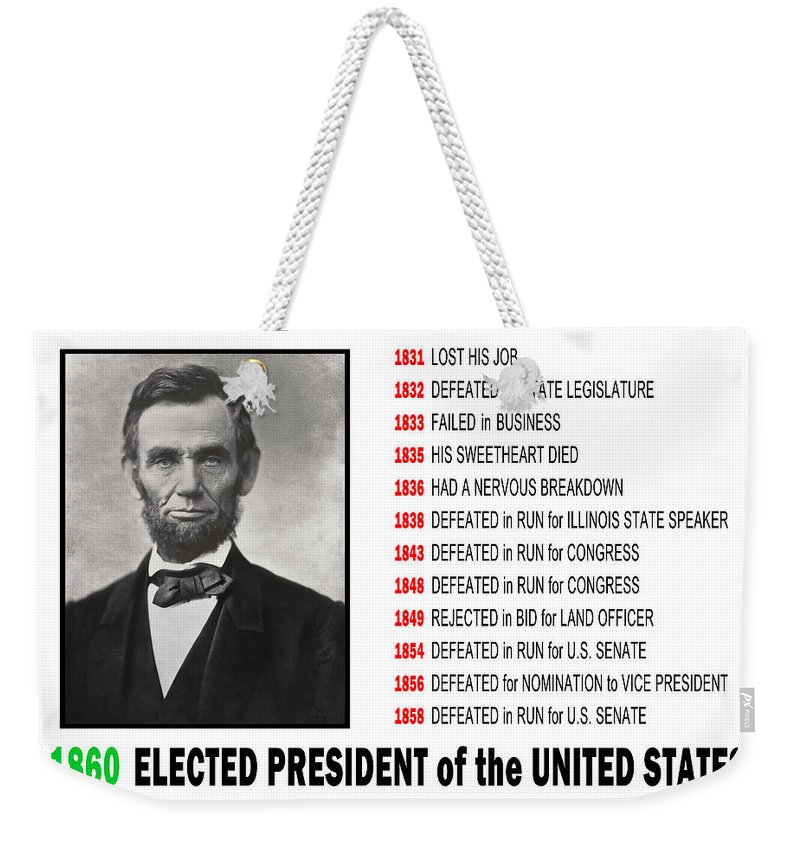 Lincoln Weekender Tote Bag featuring the digital art Perseverance Of Abraham Lincoln by Daniel Hagerman