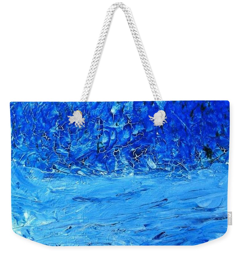 Blue Hues Weekender Tote Bag featuring the painting Persistence by Luz Elena Aponte