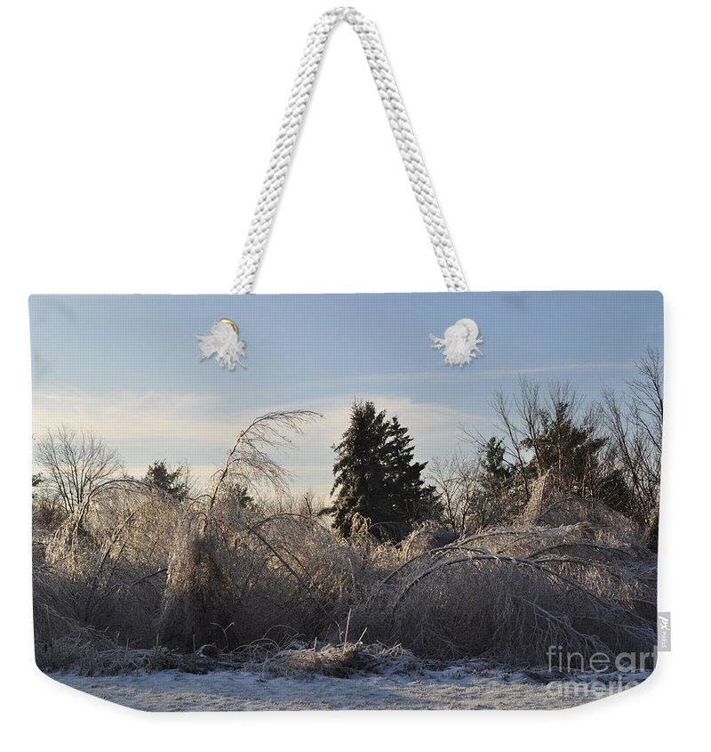 Winter Weekender Tote Bag featuring the photograph Peru Massachusetts Ice by Sally Rice
