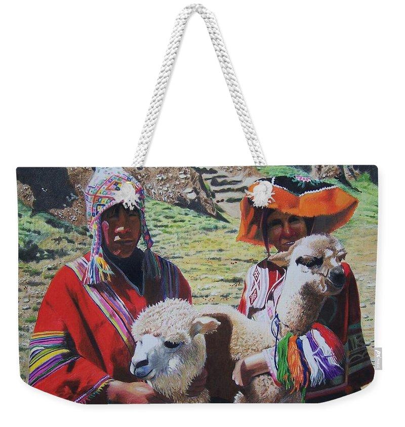 Landscape Weekender Tote Bag featuring the mixed media Peruvians by Constance Drescher