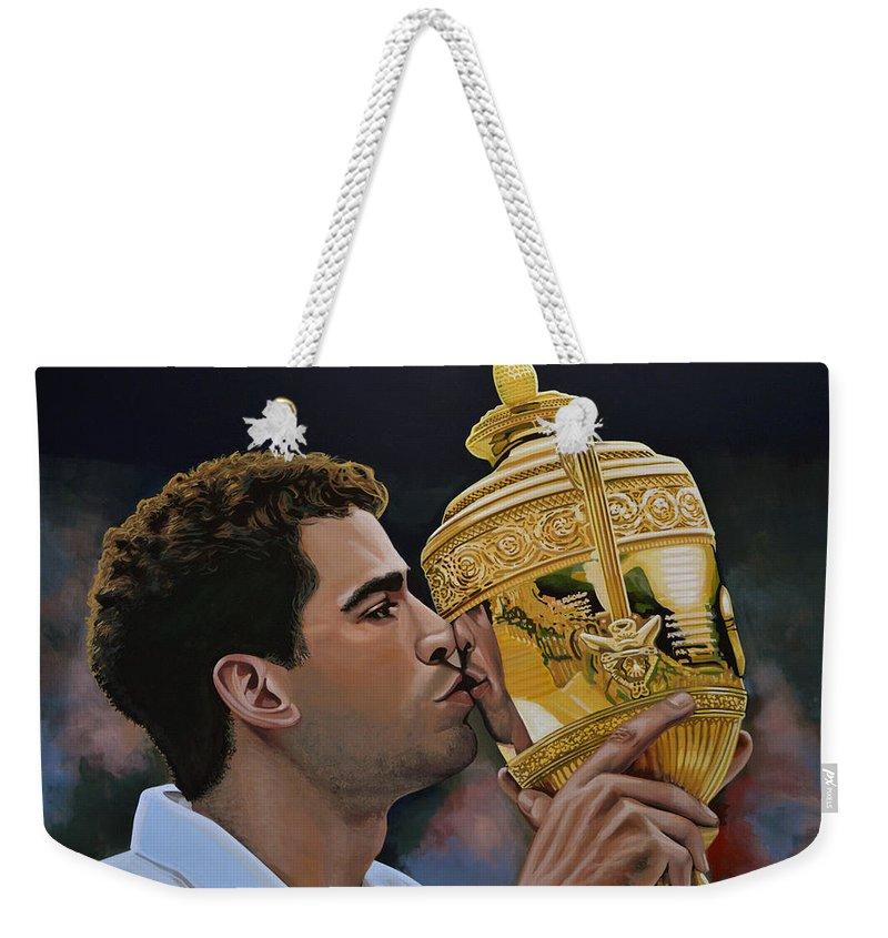 Pete Sampras Weekender Tote Bag featuring the painting Pete Sampras by Paul Meijering