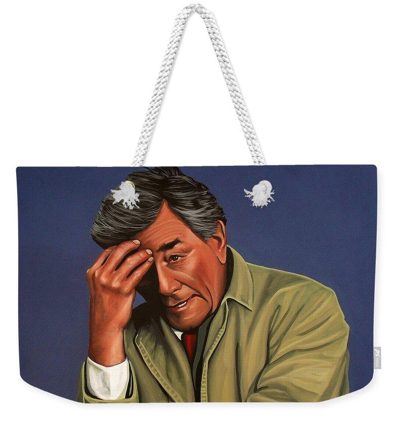 Peter Falk Weekender Tote Bag featuring the painting Peter Falk as Columbo by Paul Meijering
