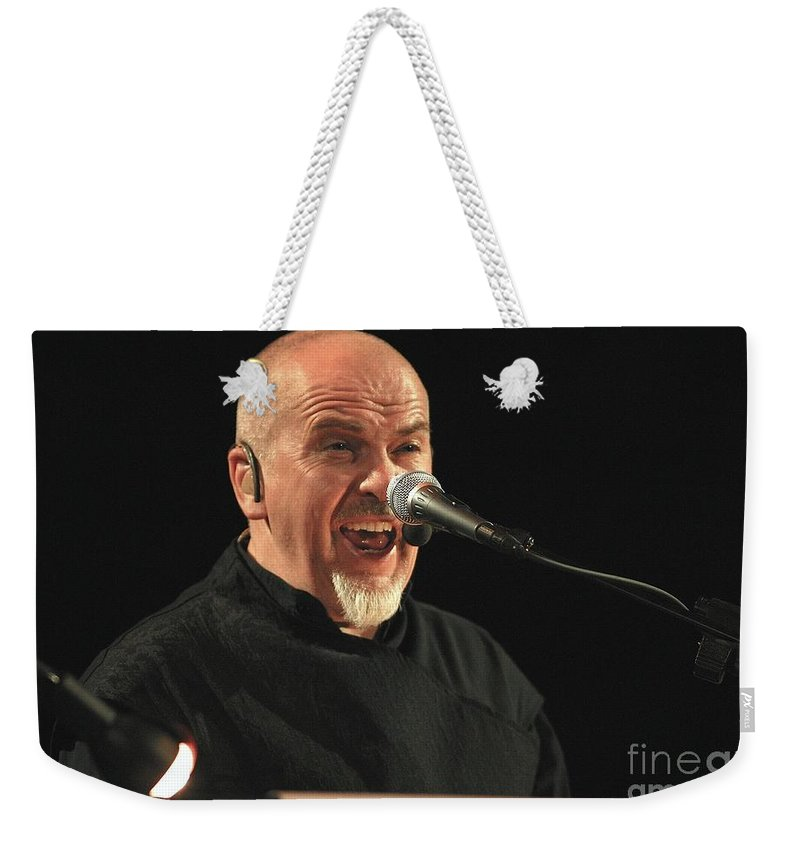 Flautist Weekender Tote Bag featuring the photograph Peter Gabriel by Concert Photos
