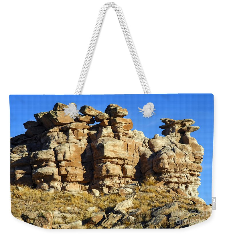 Petrified Forrest National Park Arizona Parks Rock Formation Stone Formations Sandstone Desert Deserts Desertscape Desertscapes Landscape Landscapes Weekender Tote Bag featuring the photograph Petrified Forest Rock Formations by Bob Phillips