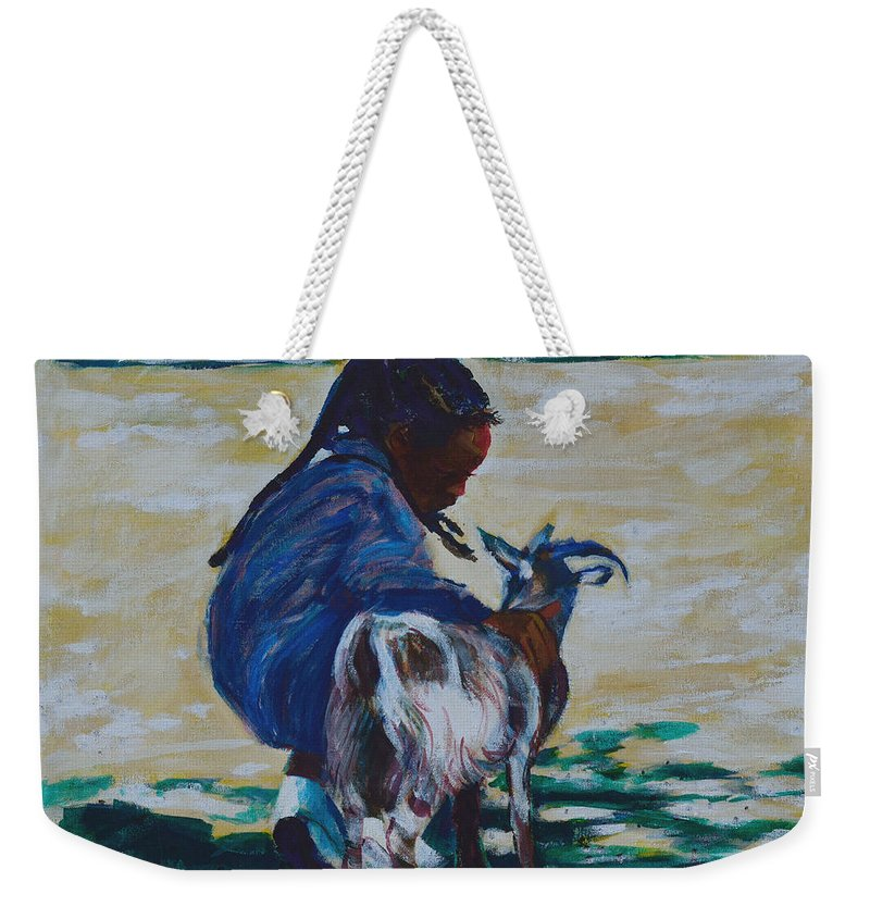 Petting Zoo Weekender Tote Bag featuring the painting Petting Zoo by Charles M Williams
