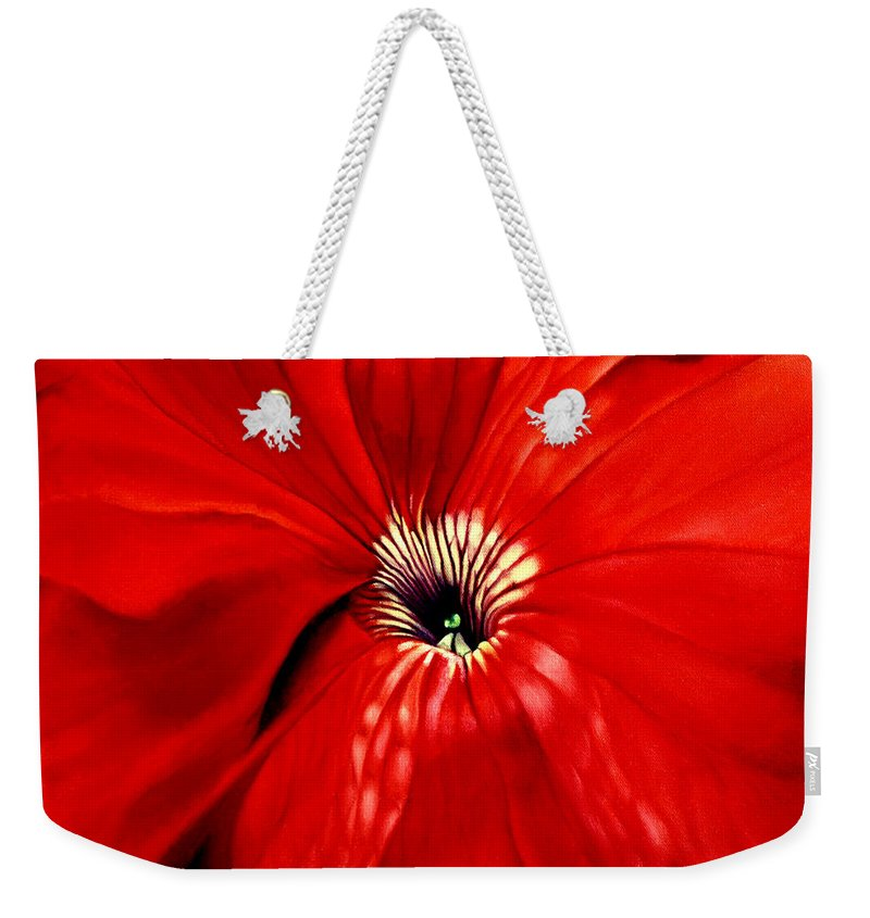 Peturnia Weekender Tote Bag featuring the painting Petunia by Anni Adkins