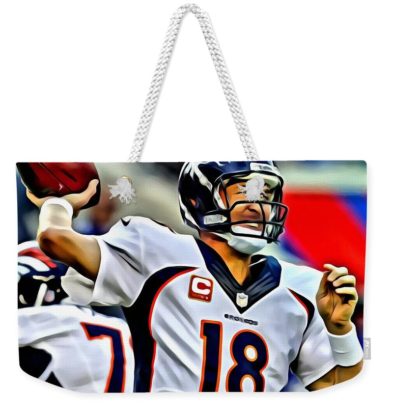 Football Weekender Tote Bag featuring the painting Peyton Manning Throwing The Pass by Florian Rodarte
