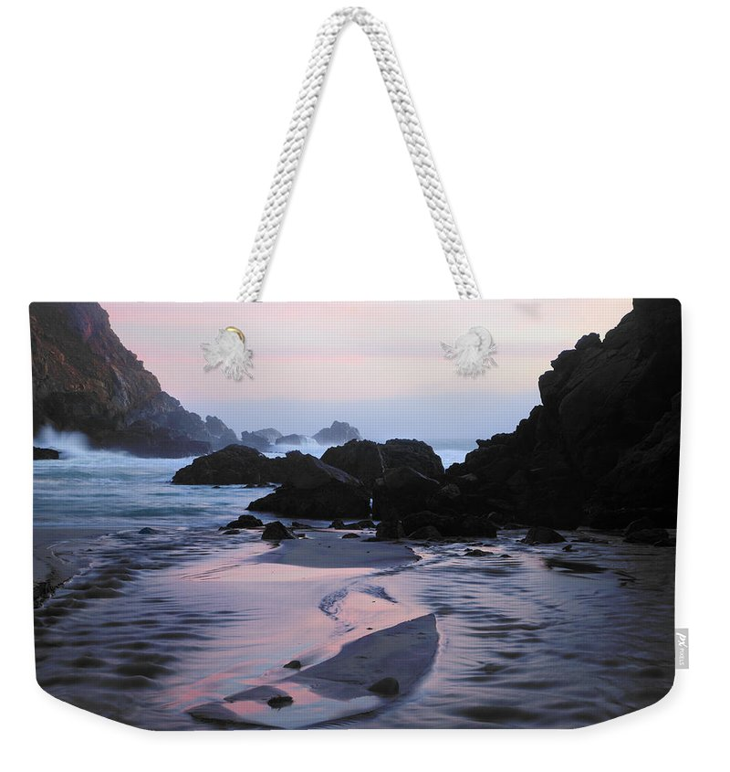 Water's Edge Weekender Tote Bag featuring the photograph Pfeiffer Beach Rocks, Purple Sand And by Terryfic3d