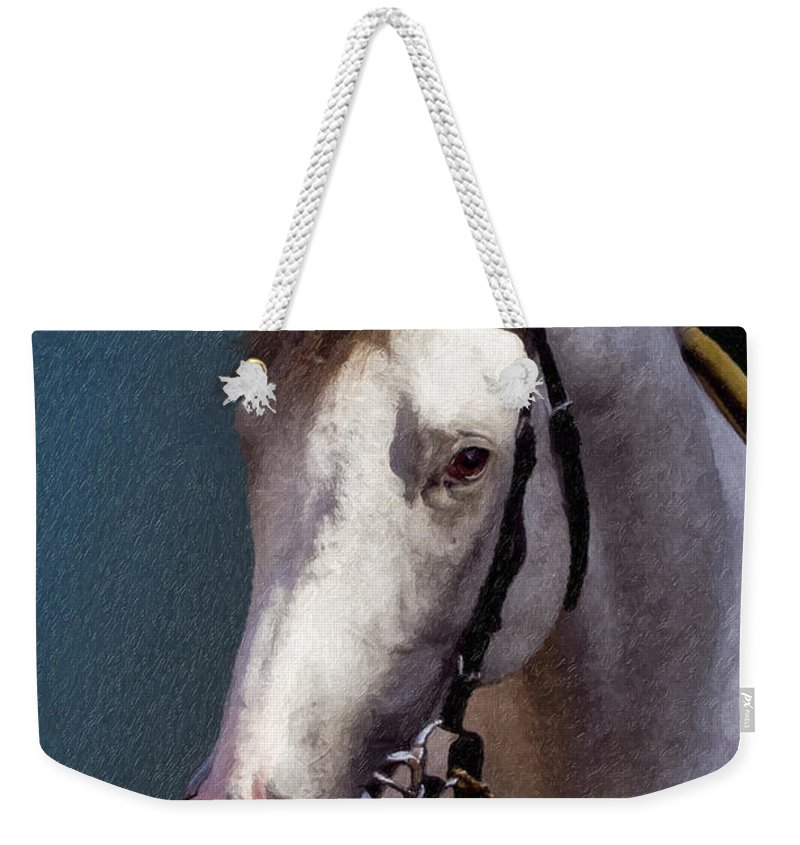 Phantom Lover Weekender Tote Bag featuring the painting Phantom Lover - Portrait Of A Race Horse by Angela Stanton