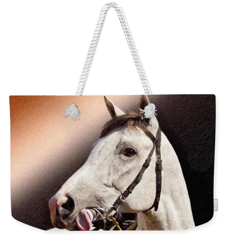 Phantom Lover Weekender Tote Bag featuring the painting Phantom Lover Race Horse Looking On by Angela Stanton