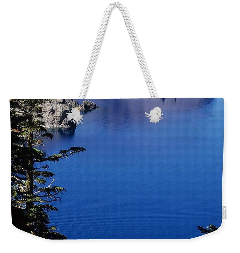 Crater Lake Weekender Tote Bag featuring the photograph Phantom Ship From Sun Notch by Sharon Elliott