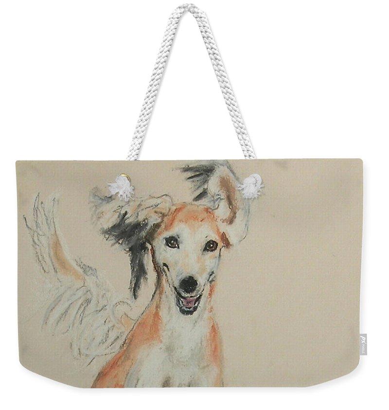 Saluki Weekender Tote Bag featuring the drawing Pheret by Cori Solomon