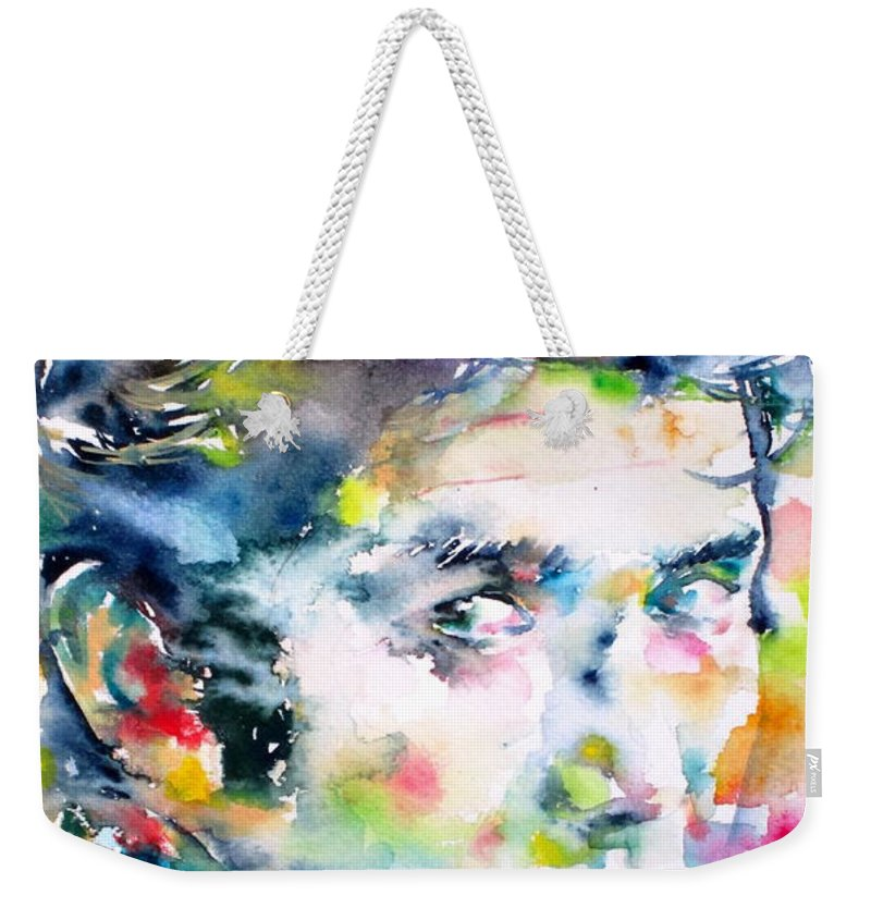 Phil Ochs Weekender Tote Bag featuring the painting Phil Ochs - Watercolor Portrait by Fabrizio Cassetta