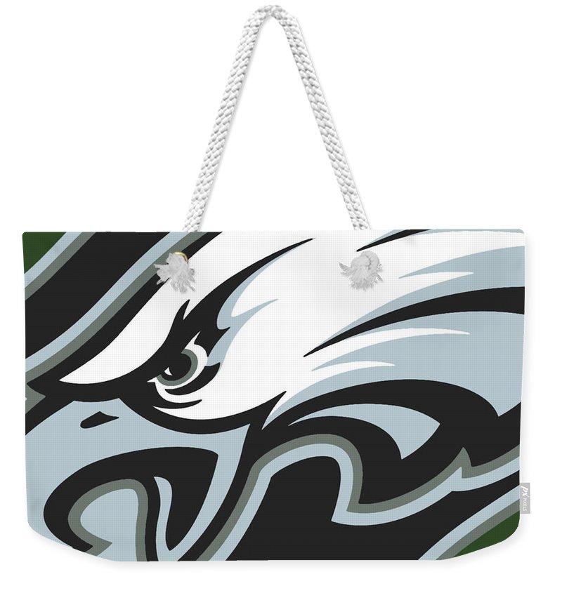 Philadelphia Weekender Tote Bag featuring the painting Philadelphia Eagles Football by Tony Rubino