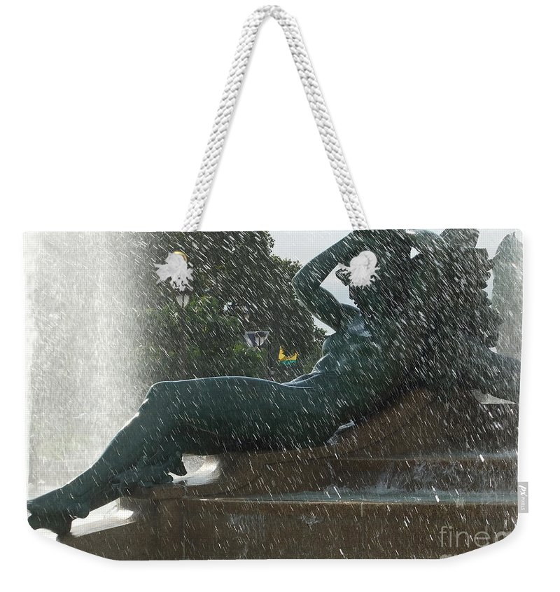 Calm Weekender Tote Bag featuring the photograph Philadelphia Fountain One by Coventry Wildeheart