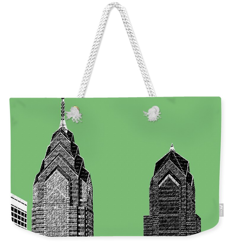 Architecture Weekender Tote Bag featuring the digital art Philadelphia Skyline Liberty Place 2 - Apple by DB Artist