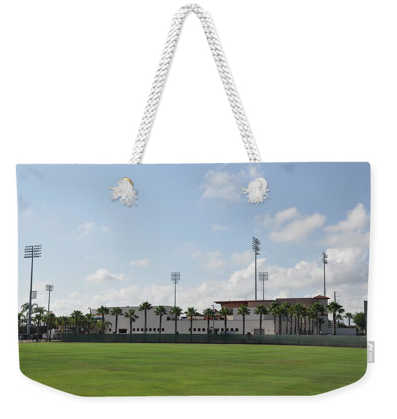 Phillies Weekender Tote Bag featuring the photograph Phillies Brighthouse Stadium Clearwater Florida by Bill Cannon
