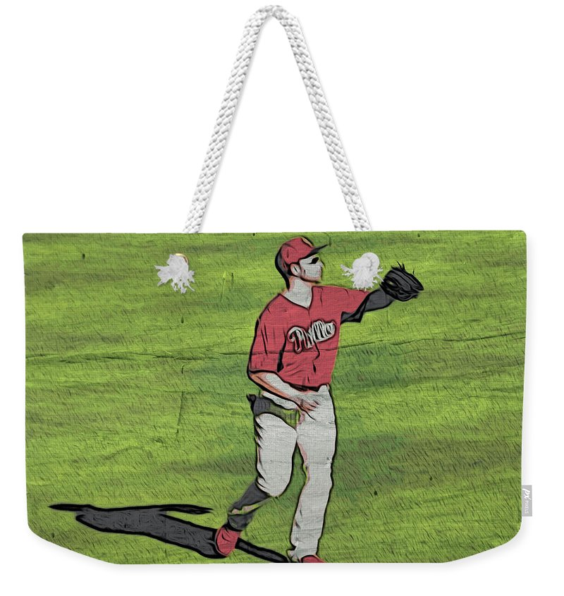 Baseball.phillies Weekender Tote Bag featuring the photograph Phillies Catch by Alice Gipson