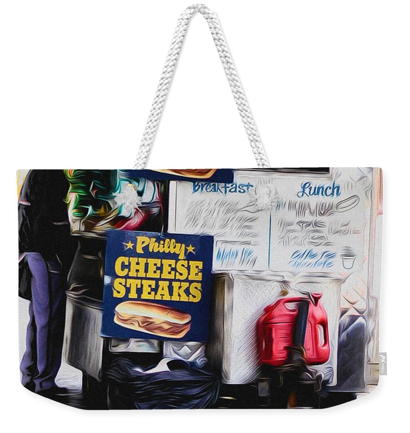 Philly Cheese Steak Cart Weekender Tote Bag featuring the photograph Philly Cheese Steak Cart by Bill Cannon