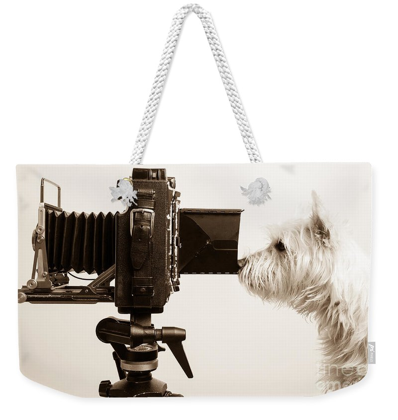 Westie Weekender Tote Bag featuring the photograph Pho Dog Grapher by Edward Fielding