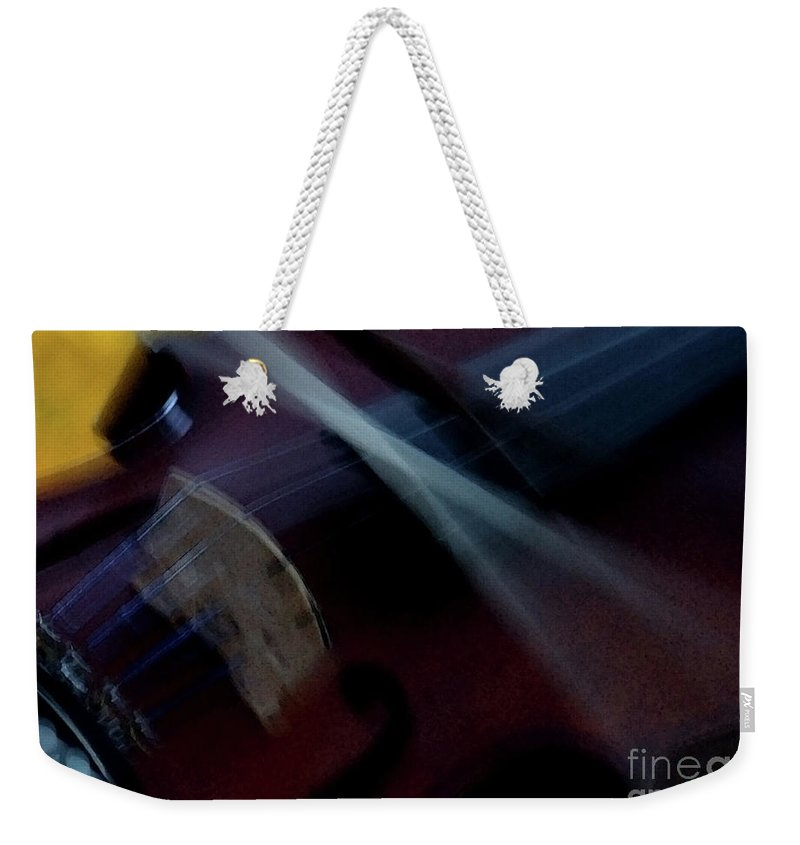 Violin Weekender Tote Bag featuring the photograph Phoebe's Violin by Linda Shafer