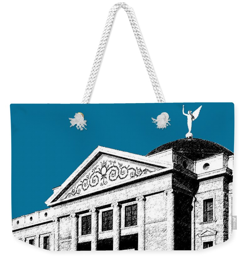Architecture Weekender Tote Bag featuring the digital art Phoenix Skyline Arizona Capital Building - Steel Blue by DB Artist