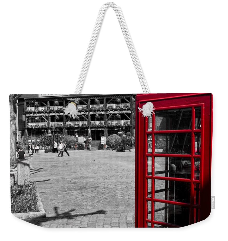 Red Weekender Tote Bag featuring the photograph Phone Box London by David Pyatt