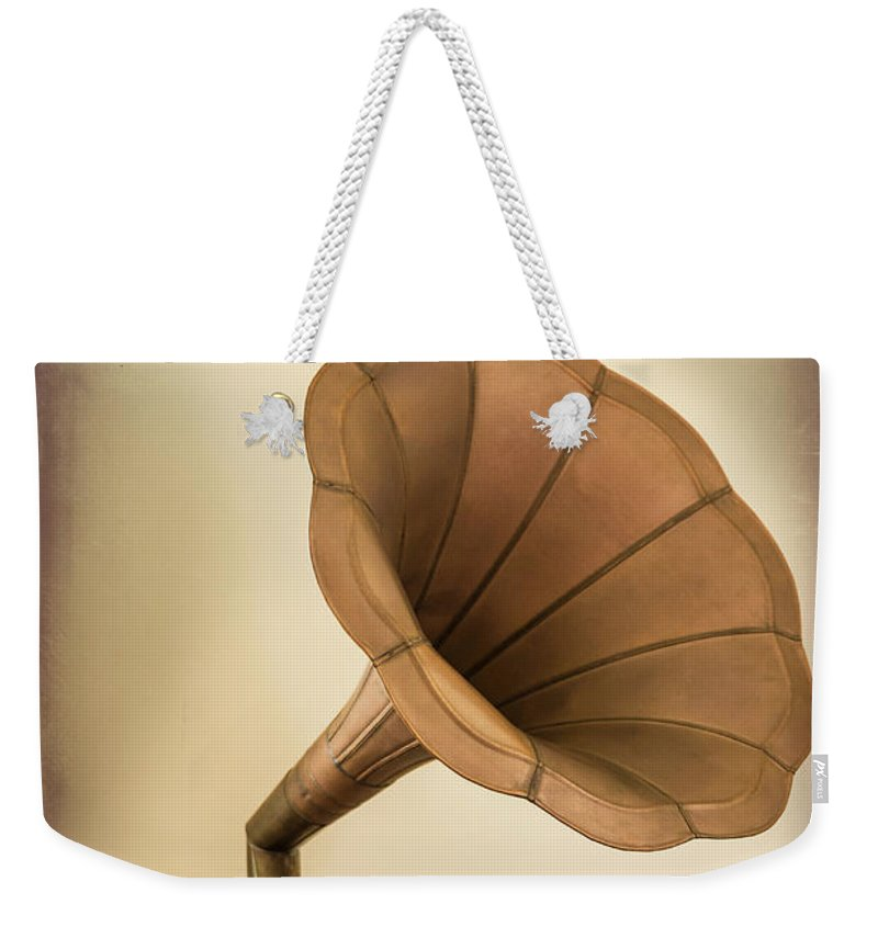 Music Weekender Tote Bag featuring the photograph Phonograph Record Player by Gary S Chapman