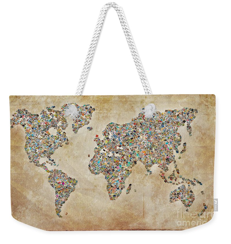 World Map Weekender Tote Bag featuring the digital art Photographer World Map by Delphimages Photo Creations