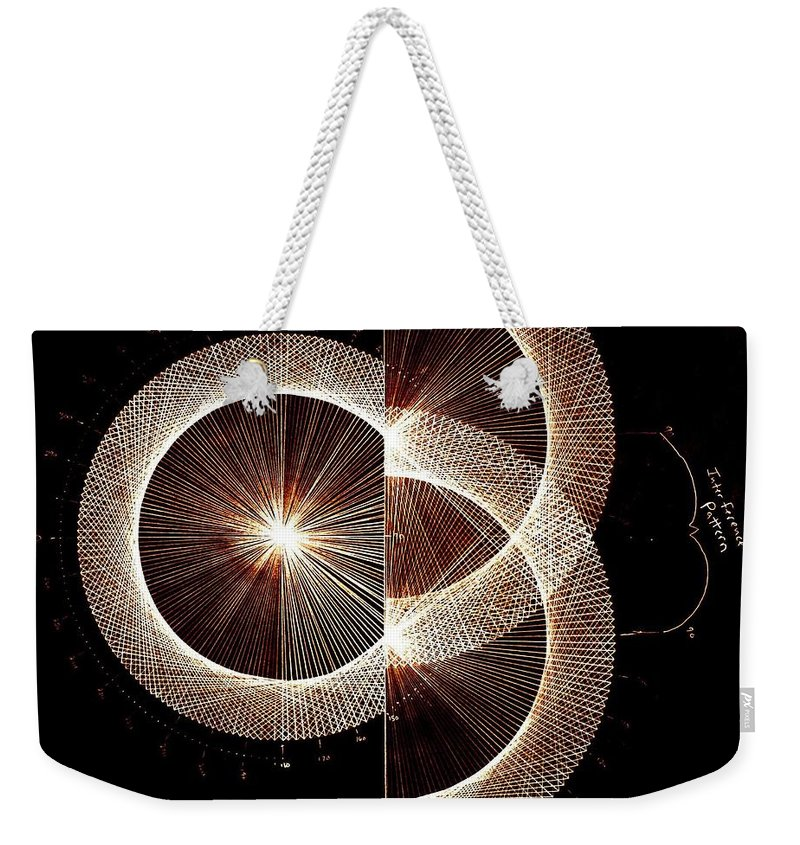 Weekender Tote Bag featuring the drawing Photon Double Slit Test Hand Drawn by Jason Padgett
