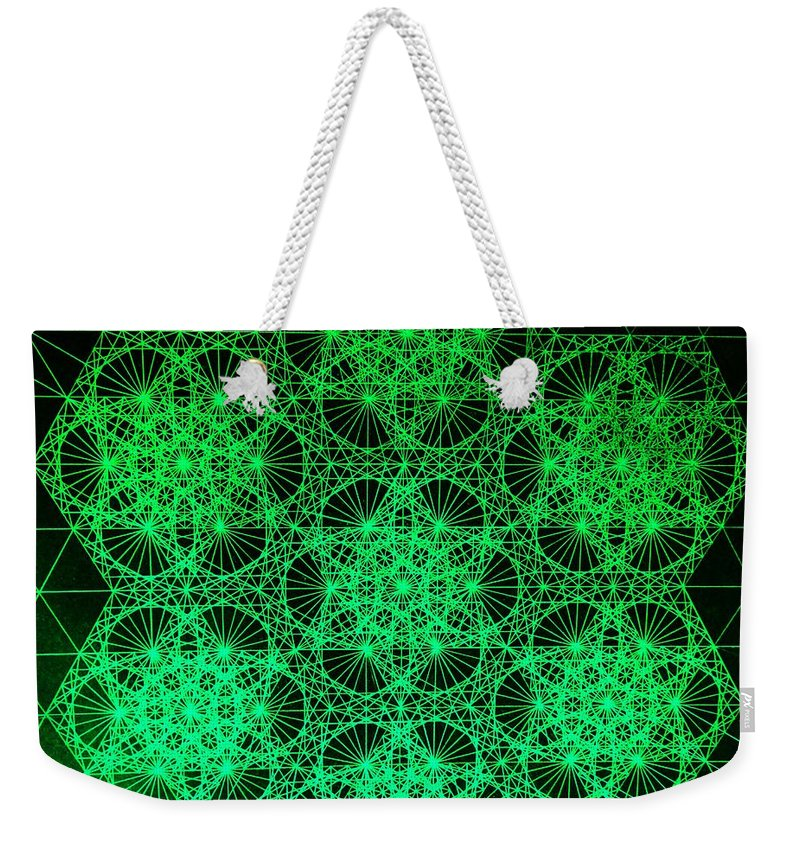 Jason Weekender Tote Bag featuring the drawing Photon Interference Fractal by Jason Padgett