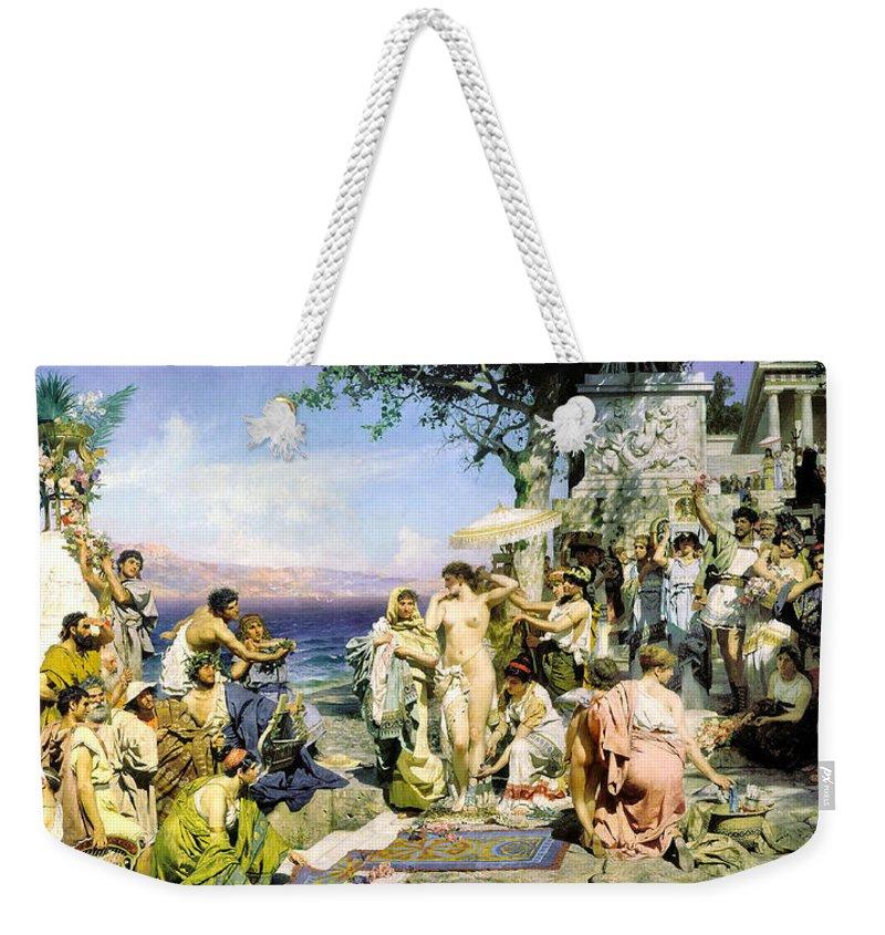 Henryk Siemiradzki Weekender Tote Bag featuring the digital art Phryne At The Festival Of Poseidon In Eleusin by Henryk Siemiradzki