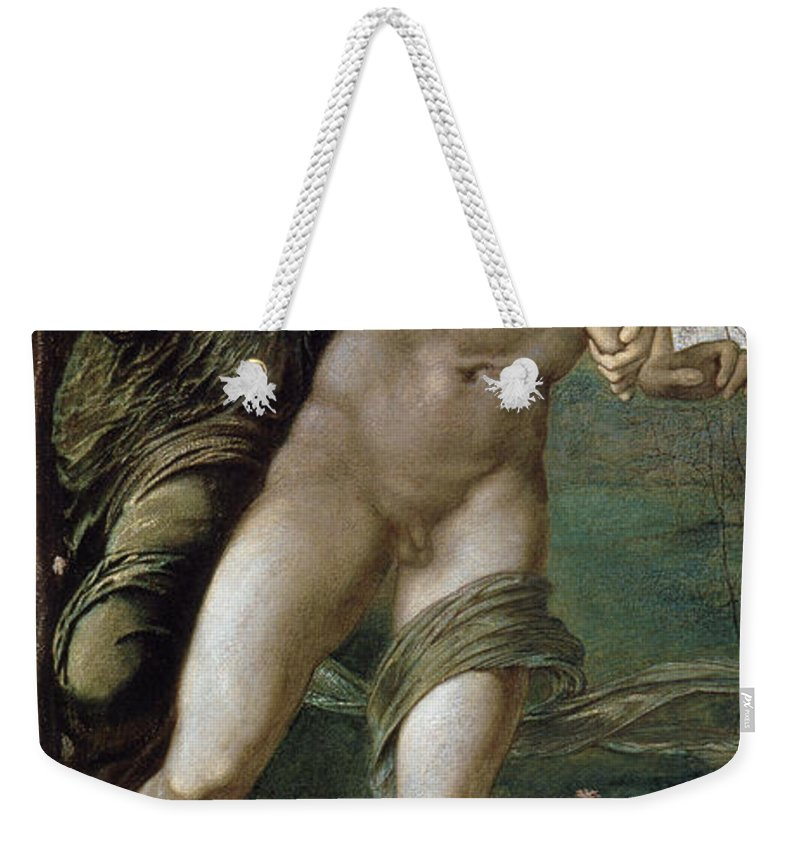 Edward Burne Jones Weekender Tote Bag featuring the digital art Phyllis And Demophoon by Edward Burne Jones