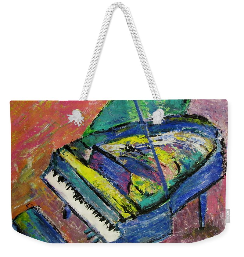 Piano Weekender Tote Bag featuring the painting Piano Blue by Anita Burgermeister